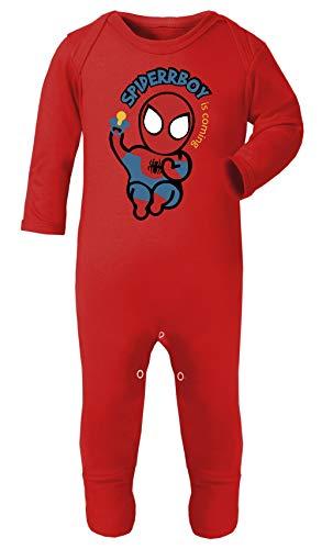 Superhero Spiderboy Baby Spider-Man Footies Pajamas 100% Cotton Hypoallergenic (Red, 3-6 Months) -