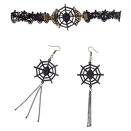 RareLove Vampire Gothic Choker Necklace and Earrings Set Spider Web Charm for Halloween Costume for $<!--$6.29-->