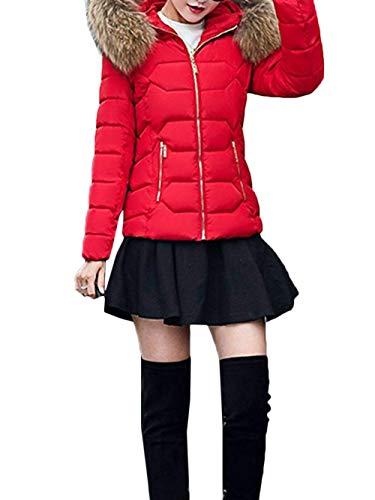 Outwear Retro Laterales Sólidos Adelina Pluma Cremallera Invierno Capucha Piel Cuello Con Sintética De Chaqueta Manga Outerwear Rojo Colores Larga Bolsillos Caliente Mujer Hipster qAUwnU1S