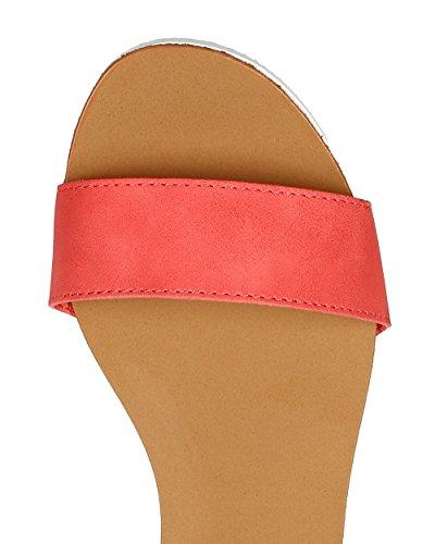 Breckelles Ca52 Kvinner Leather Åpen Tå Ankelen Stroppen Flat Sandal - Grapefrukt