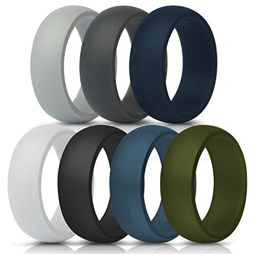 (ThunderFit Silicone Rings, 7 Pack & Singles Wedding Bands for Men - 8.7 mm Wide)