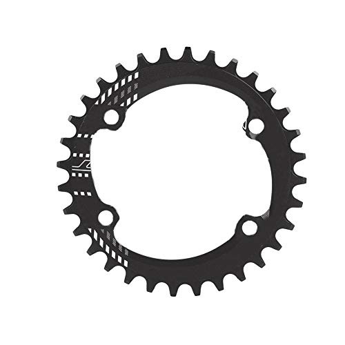 hainring 96mm BCD 32T 34T 36T 38T Bicycle Single Chain Ring Guard Compatible M6000 M7000 M8000 Shimano Mountain Bike (Red/Black, Aluminum Alloy)(32T-Black) ()