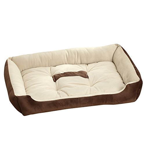 (Riveroy Rectangle Orthopedic Pet Dog Cat Bed Cuddler and Nonslip Bottom Soft Memory Foam Solid Sofa with Bone Printed)