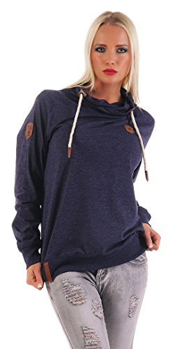 Benter Mujer Jersey De Cuello Vuelto Sudadera ligero suéter de algodón Camisa Manga Larga Sudadera con capucha azul oscuro