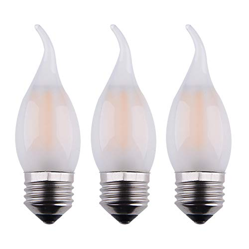 OPALRAY C35 2W Dimmable LED Candelabra Bulb, E26 Common Base, Frosted Glass Cover Flame Tip,Warm White 2700K 200Lumens, 25W Incandescent Equivalent,3 Pack