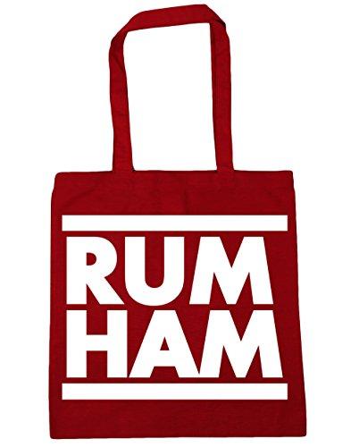 HippoWarehouse Rum Ham (Ron Jamón) Bolso de Playa Bolsa Compra Con Asas para gimnasio 42cm x 38cm 10 litros capacidad Rojo