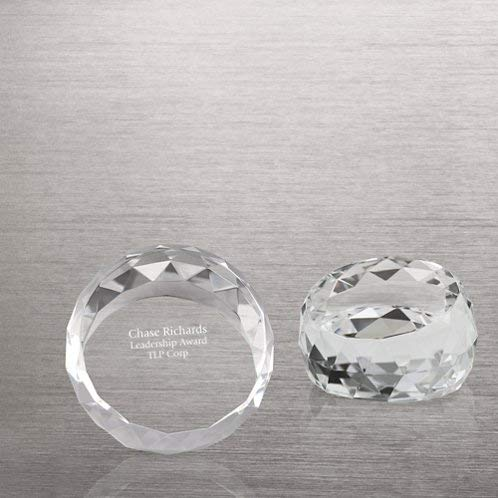 Beveled Edge Crystal Award - Baudville Engraved Paperweight - Crystal - Round with Beveled Edges - Personalized Engraving Up to Three Lines and Pre-Written Verse Selection - Comes in Gift Box - Award for Employees