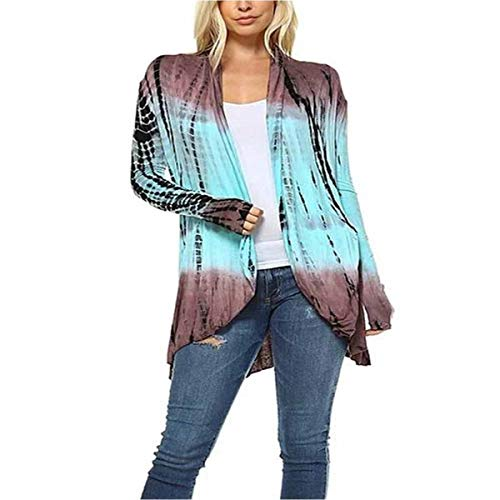 Invierno Manga blue Tie ZFFde larga Loose Mujeres Cardigan Dye Outwear Light L tamaño Gradient Coat Open Front Color dwHq4g