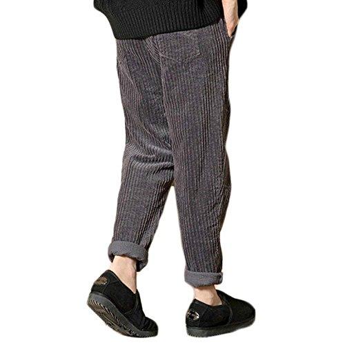 Coste Grau Femminile Vita Tempo Fit Costume Abbottonatura Outdoor Pantaloni Velluto Multi Pants tasca A Di Monocromo Alta Con Donna Eleganti Lunga Moda Libero Slim 4axqg4w7
