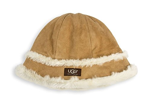 UGG Women's City Bucket Hat with Exposed Shearling Chestnut One (Shearling Bucket Hat)