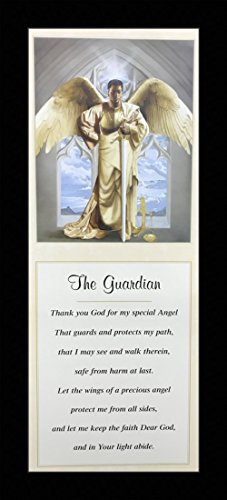 US Art Black 1.5 inch Framed with GUARDIAN ANGEL, (AFRICAN AMERICAN ART/FEMALE & MALE ANGEL/3017C) 8x20 Inch EDWARD CLAY WRIGHT, AFRICAN AMERICAN ART Print ()