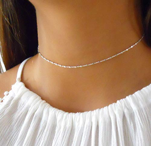 (Sterling Silver Choker Necklace Chain With Tiny)