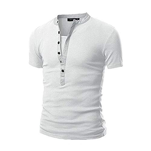 Dressin Summer Mens T Shirt Casual Button Solid Color Shirt Packwork Short Sleeve Tops Tees White