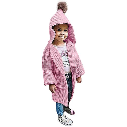 FTXJ Baby Sweater Coat Children Kids Baby Girls Solid Hooded Knitted Sweater Cardigan Coat Clothes (4-5 Years, Pink) -