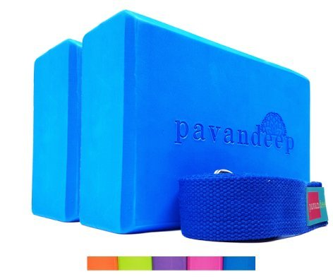 Yoga Blocks and Strap Set by Pavandeep (3pc Package) EVA Yoga Foam Block (2 Pack) + Yoga Strap (1pc) Firm Grip for Balance Stability & Support in Yoga Pilates Meditation – DiZiSports Store
