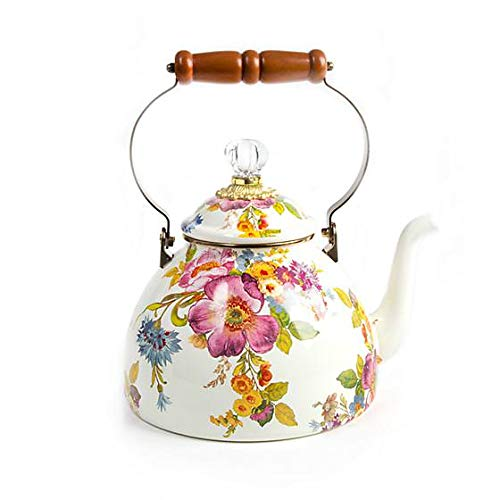 MacKenzie-Childs Tea Kettle, Steel Enamel - Flower Market - Multicolor - Printed Stovetop - 9'' Dia. base, 4.5'' Dia. lid, 13'' Tall, 3 Qt. Capacity by MacKenzie-Childs (Image #4)