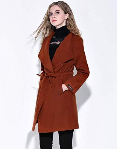 Manche Coat Moderne Caramel Femme Parker Serrage Vent Hiver Casual Spcial Longues Latrales Uni Coupe lgant Revers Poches Mode Cordon De Style Manches Manteaux Style vARHqSv