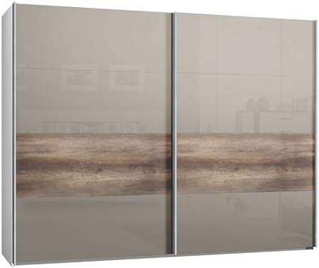 Armario de puertas correderas, puerta corredera, 2trg., aprox 300 cm, vidrio Sahara gris, tiras en madera de roble, armario: Amazon.es: Hogar