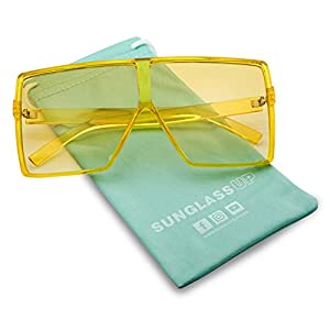 Big XL Large Oversized Super Flat Top Square Two Tone Color Fashion Sunglasses (Yellow Frame | Yellow, 69)