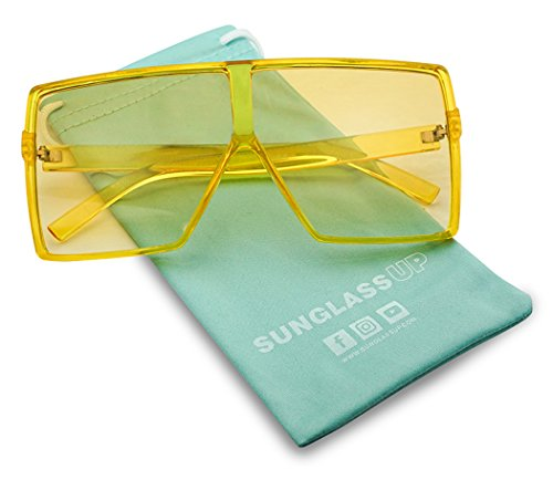Las Vegas Accessories - SunglassUP Oversized Festival Candy Colored Tone Square Crystal Frame Sunglasses (Yellow Frame | Yellow)