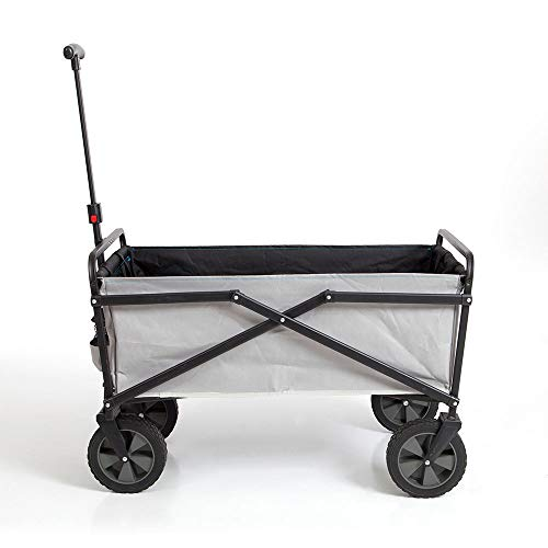 Seina Manual 150 Pound Capacity Folding Steel Wagon Outdoor Garden Cart, Gray ()