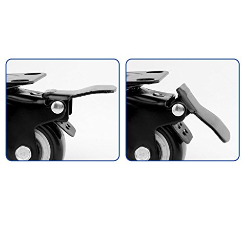 ULIFESTAR 4 PCS 1.5 inch Heavy Duty Caster Wheels Polyurethane PU Rubber Swivel Casters with Top Plate & Strong Bearing Total 400lb Quite Mute Non-Marking Locking Stem Casters Black (1.5'') by Ulifestar (Image #4)