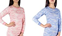 Andrew Scott Women's 2 Pack Base Layer Long Sleeve Shirt Cotton Thermal Top