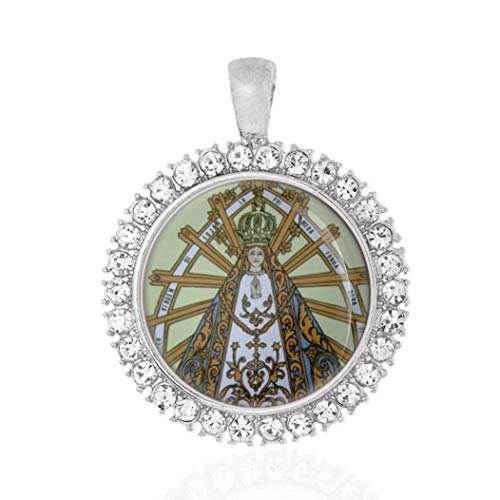 Realig Our Lady of Lujan Patroness of Argentina Silvertone Pendant with Rhinestones Round Medal