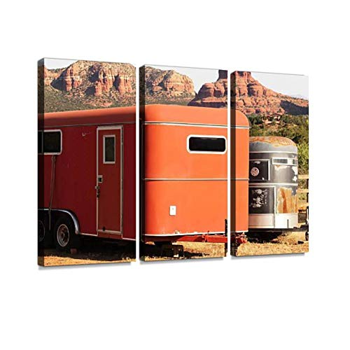 (BELISIIS Horse Box Trailers Sedona Arizona Wall Artwork Exclusive Photography Vintage Abstract Paintings Print on Canvas Home Decor Wall Art 3 Panels Framed Ready to Hang)