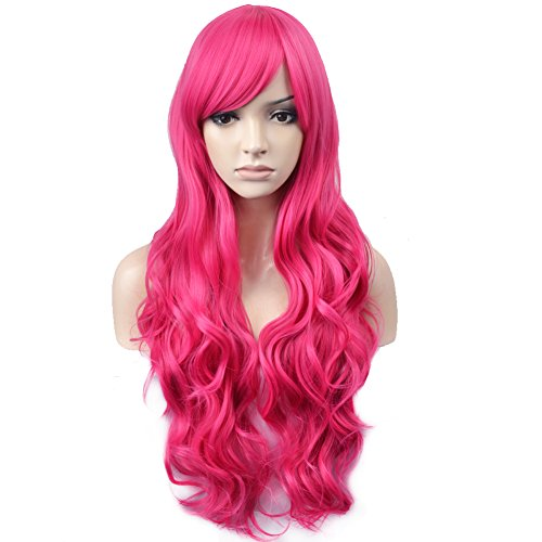 BERON 32'' Women Girl's Soft Long Curly Synthetic Wigs Costume Play Party Wigs Hairnet Included (Hot Pink) -