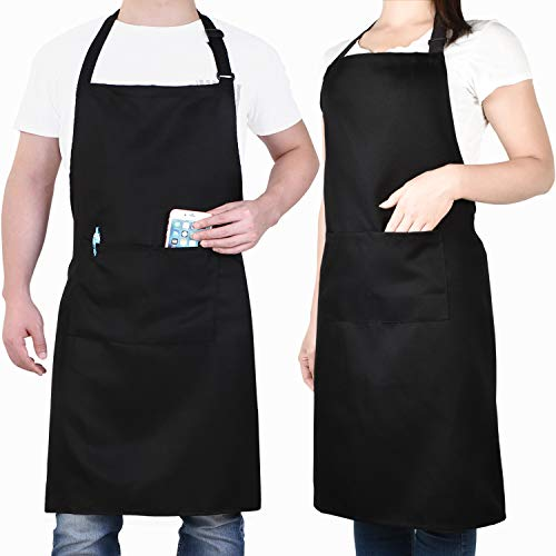 Will Well 2 Pack Adjustable Bib Apron, Water Oil Stain Resistant Cooking Kitchen Aprons with 2 Pockets for Women Men Chef, Black (Big And Tall Apron)