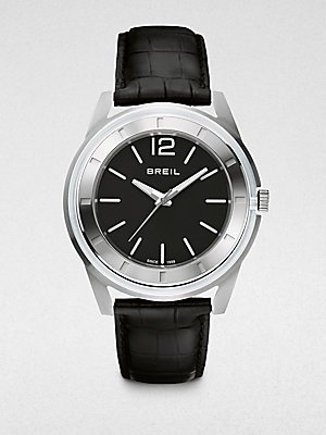 Breil Men's Orchestra Black Croc Leather Strap Watch 45mm TW1195