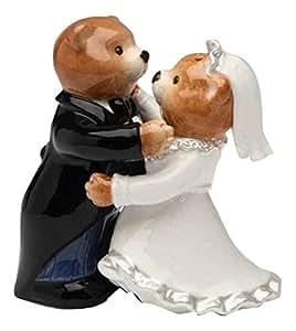 CG 10329 Teddy Bear Bride in Wedding Robe & Groom Salt & Pepper Shakers