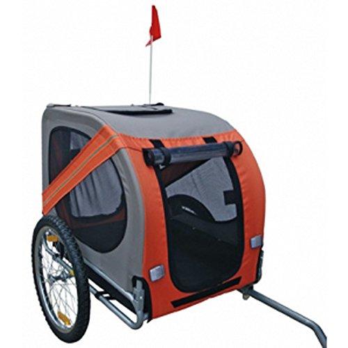 Hundeanhänger Fahrrad Hundefahrradanhänger orange-grau mit Sicherheits-Drehkupplung