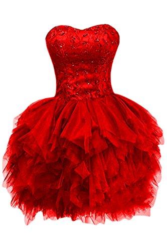 Tuell Bride Z rot Linie Mini Herz Ausschnitt Cocktailkleid Brautjungfernkleid A Modern Applikation Gorgeous Partykleid pxqw1p