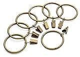 iron curtain rings - Iron Metal Curtain Clip Rings 2 Inch Interior Diameter Set of 14, Bronze Antiqued