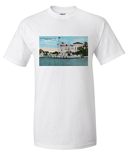 Miami, Florida - Villa Vizcaya, James Deering Estate Scene - Vintage Poster (White T-Shirt XX-Large) - Biscayne Wall Lantern
