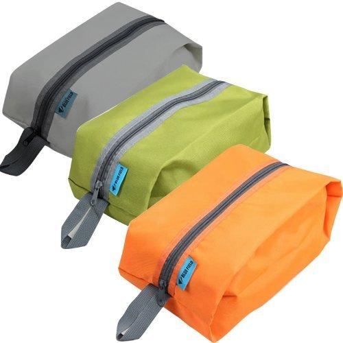 防水加工 3枚入り 収納袋 グレー オレンジ グリーン (靴、衣服、食糧入れ...