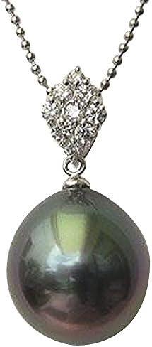 ペンダントトップ 黒真珠パール PT900プラチナ ダイヤモンド