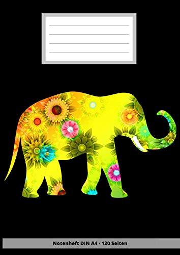 Notenheft DIN A4 - 120 Seiten: Soft Cover - Leeres Heft zum ausfüllen für eigene Noten im elefanten elephant design (German Edition)