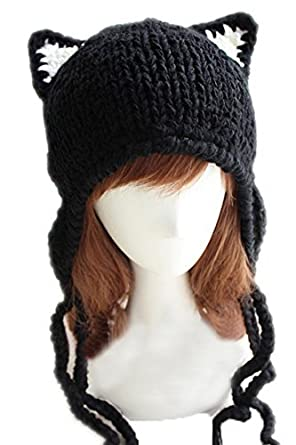663b8248a0b Image Unavailable. Image not available for. Color  Chrysea Handmade Earflap  Beanie Cat Ears Knit Hats