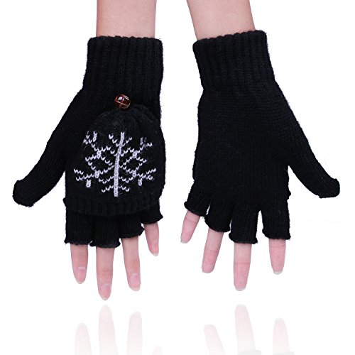 Womens Snowflake Convertible Gloves - HDE Womens Fingerless Winter Gloves Convertible Texting Knit Mittens
