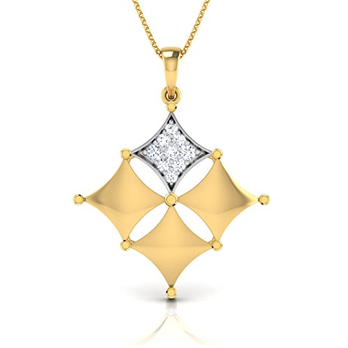 18 K Or Blanc 0,07 ct tw Round-cut-diamond (IJ | SI) Pendentif