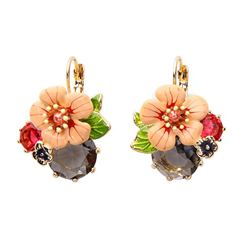 Round Cut Crystal Flower Drop Dangle Earrings For Women Black Made with Swarovski Crystals ()