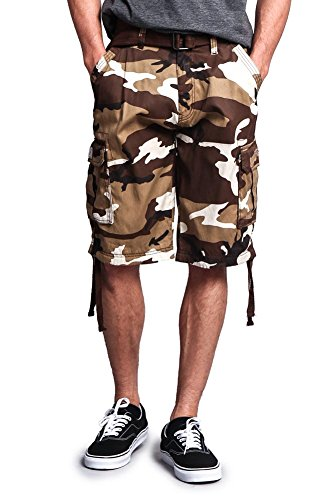 G-Style USA Men's Camo Ripstop Belted Cargo Shorts 9AP30 - Brown - 42 - ()