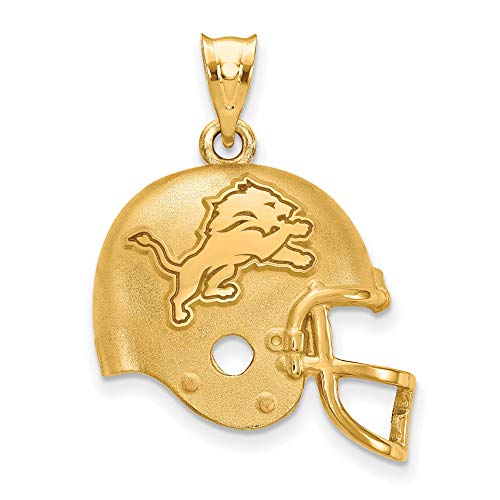 (Kira Riley Gold Plated Detroit Lions Football Helmet Pendant)