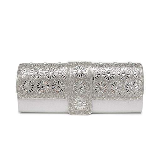 diamante sposa banchetto bag Cheongsam borsa 4 pochette borsa 2 borsetta da borsa tracolla WDGJMM messenger Silver catena a borsa Black perla bag vExIqBvwda