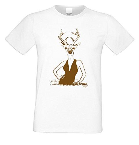 Wiesn T-Shirt - Hirsch Lady braun - lustiges Spruch Shirt ideal für's Oktoberfest statt Lederhose und Dirndl