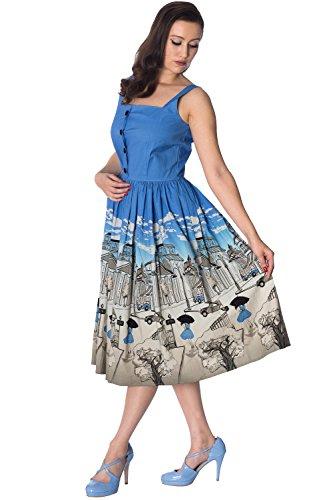 Kleid Banned Button Size Blau Retro durch Plus Vintage Paris x0UrZtw0q6