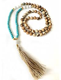 M&B Jasper and Turqouise Boho Mala Necklace 8-10mm with Natural Stone Beads for Meditation and Yoga with Silk Tassel